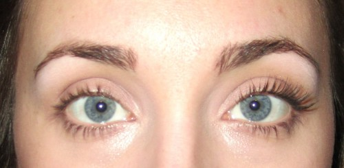 f32ff354a81 A shot of a woman with blue eyes taken from halfway point of her nose to  Blinc Mascara Amplified Lashes